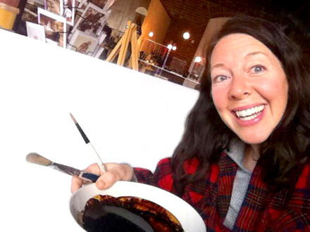 Karen Eland paints with coffee and beer